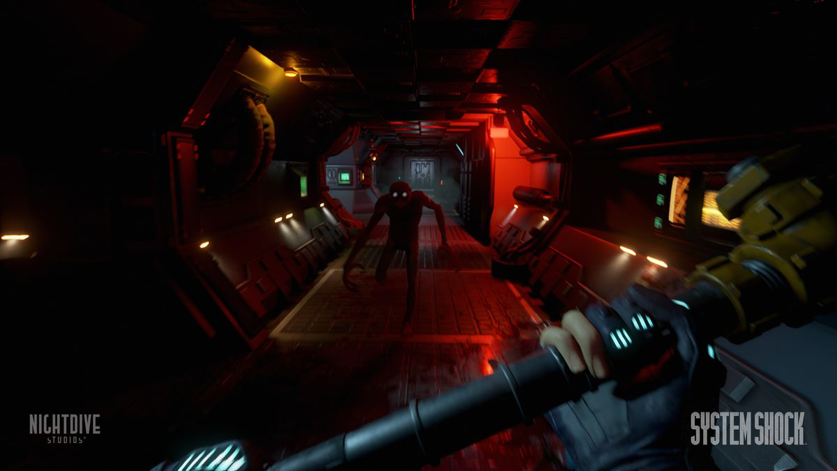 System Shock remake - using lead pipe to attack enemy