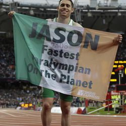 Ireland's Jason Smyth celebrates after winning the men's 100m T13 final race at the 2012 Paralympics in London, Saturday, Sept. 1, 2012.