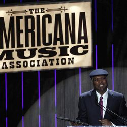 Booker T. Jones speaks after receiving the Lifetime Achievement Instrumentalist Award at the 11th annual Americana Honors & Awards, Wednesday Sept. 12, 2012, in Nashville, Tenn.