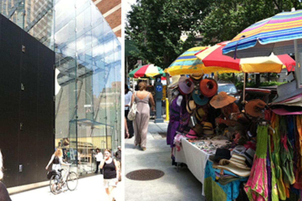 """At left, the panels; at right, street vendors. Images via <a href=""""http://www.westsiderag.com/2011/08/04/upper-west-side-apple-store-falls-into-disrepair-black-panels-and-a-bedouin-village"""">West Side Rag</a>"""
