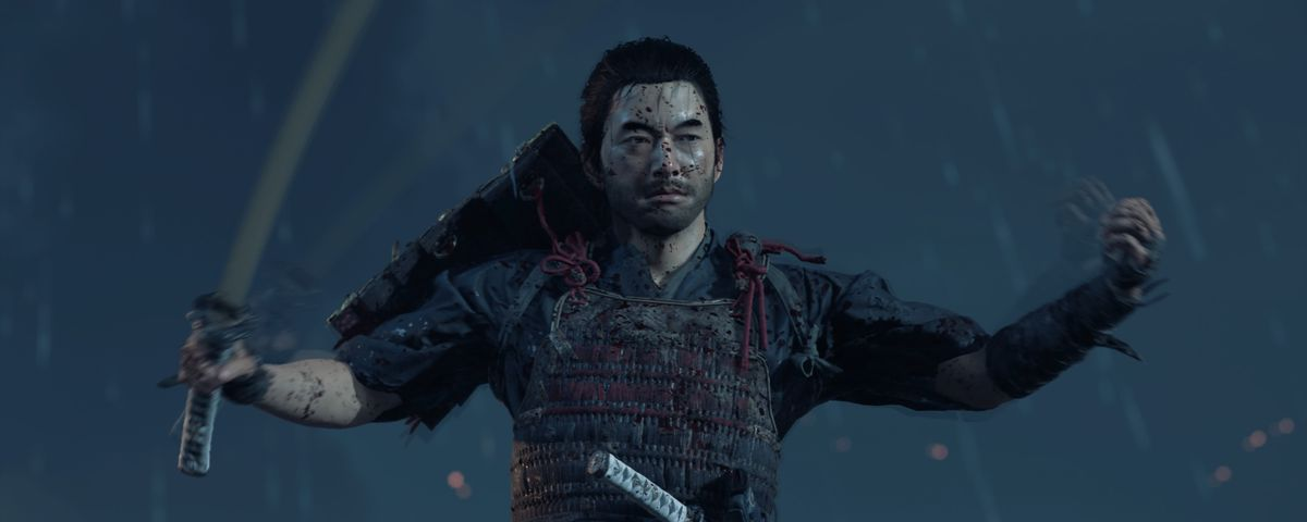 Ghost of Tsushima's main character Jin Sakai poses with armor and a sword