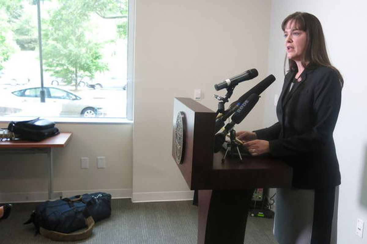 Education Commissioner Candice McQueen speaks to reporters in April 2016.