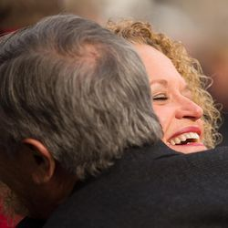 Jackie Biskupski greets a well-wisher prior to being sworn in as Salt Lake City mayor at a ceremony outside the City-County Building on Monday, Jan. 4, 2016.
