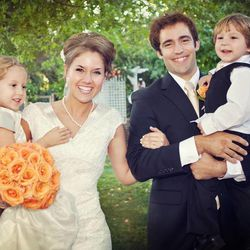 Emily Jones-Sanchez with her children, Lizzie, left, and John, right, and husband Donovan Sanchez at their wedding.