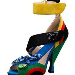 "Prada Embellished Asymmetric Suede Sandal, <a href=""http://www.neimanmarcus.com/Prada-Embellished-Asymmetric-Suede-Sandal-Shoes/prod166480192_cat14860748__/p.prod?icid=&searchType=EndecaDrivenCat&rte=%252Fcategory.jsp%253FitemId%253Dcat14860748%2526pageSi"