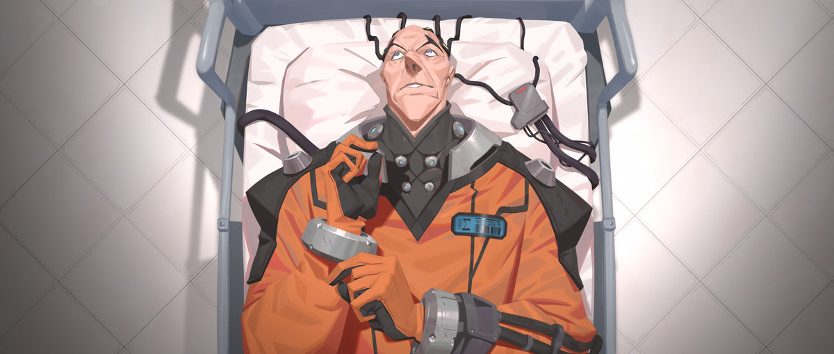 Overwatch - Sigma's Origin animation shows him in a medical stretcher and a space suit.