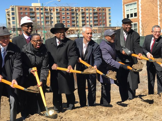 Mayor Rahm Emanuel and other local leaders at a groundbreaking event for a city-subsidized affordable housing project for senior citizens on the Near West Side Friday, April 7, 2017. | Fran Spielman for the Sun-Times