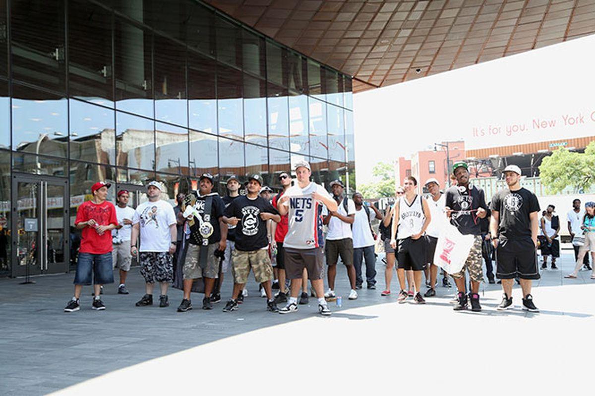 Fans outside trade presser (Brooklyn Nets)