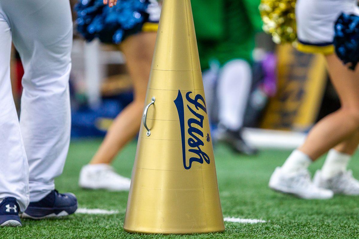 notre dame cheerleader megaphone