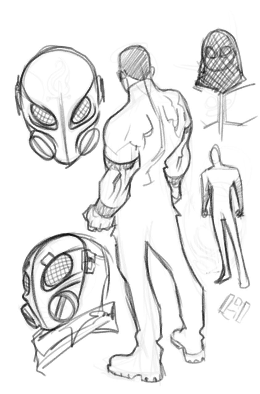 Concept art of a man in a mask with segmented eye patches and dual cylinders over the mouth, like a gas mask, from Thomas River.