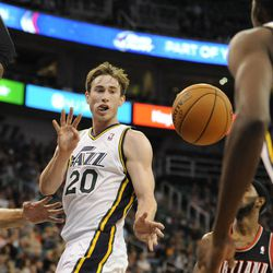Utah Jazz small forward Gordon Hayward (20) dishes the ball back to teammate Utah Jazz small forward Jeremy Evans (40) in the second half of a game at the Energy Solutions Arena on Wednesday, October 16, 2013.