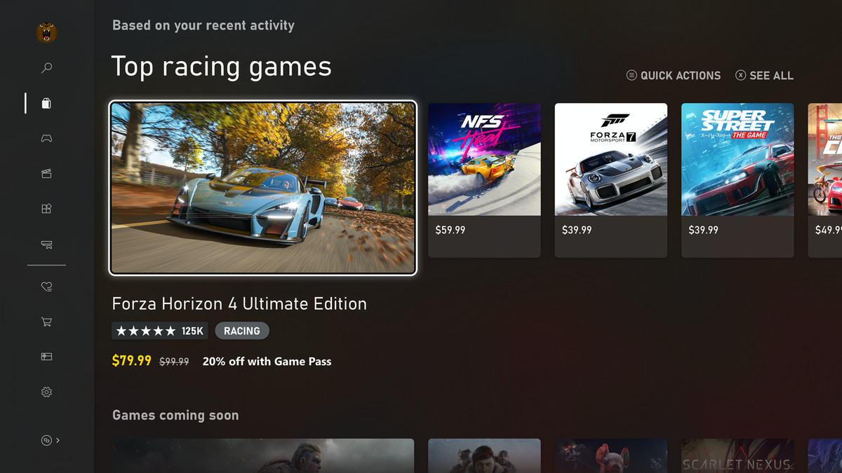 Xbox Series X's Microsoft Store