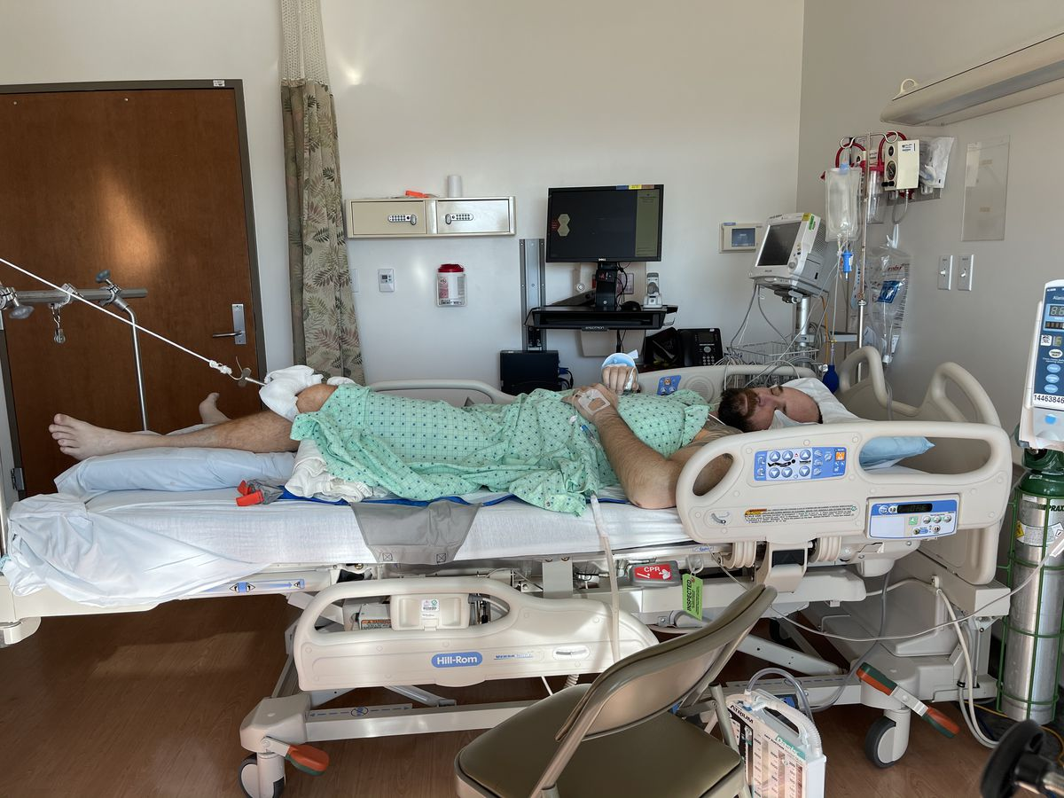 Jeff Hunt, a southern Utah father of two, survived but suffered extensive injuries in a paramotor crash west of St. George on Friday, Jan. 1, 2021. He is pictured in Intermountain Medical Center in Murray on Saturday.