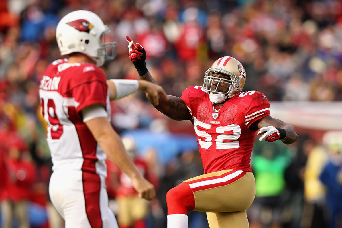 No reason for this. I just wanted to put up a picture of Patrick Willis celebrating. He didn't get to do that much at Ole Miss.