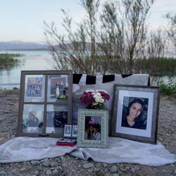 Photos of Priscilla Bienkowski and Sophia Hernandez are displayed during a vigil for the two missing teenagers on the west side of Utah Lake on Saturday, May 9, 2020. The two teens have been missing since going to the lake on Wednesday.
