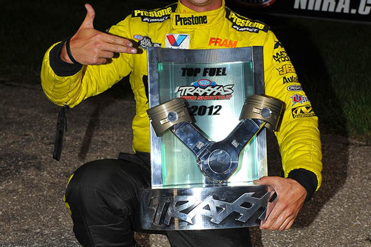 Massey Has Top Fuel Rivals Eating His Dust Or Mud Straight Line Oil Filter Fram Racing Spencer Shows Off The Trophy From 100000 Victory In Traxxas Nitro Shootout For Class During Mac Tools Us Nationals At