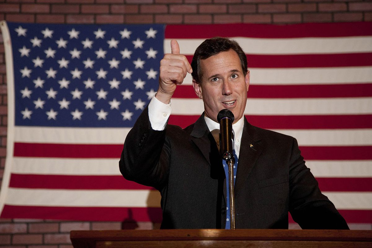 """Rick Santorum at a """"Rally for Rick"""" in 2012, when he won 11 states and nearly 4 million votes. Why did he fail to gain traction in 2016?"""