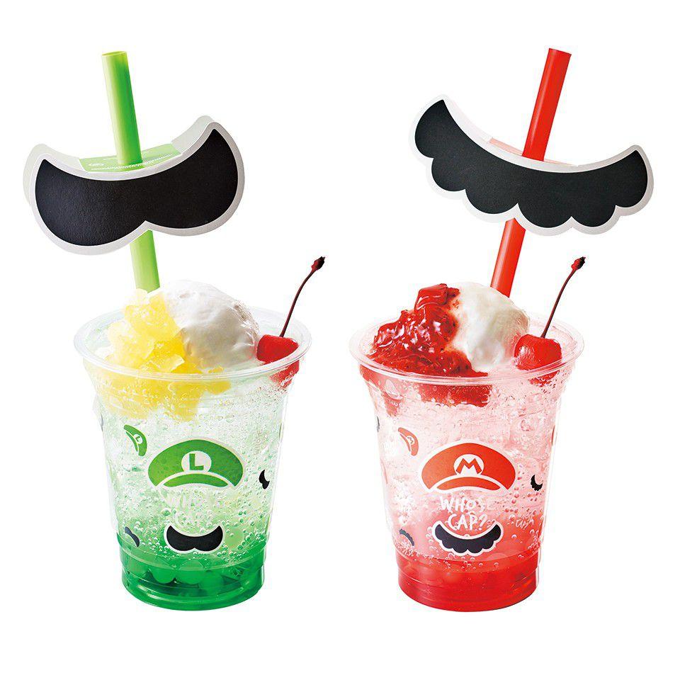 Mario-themed drinks at Super Nintendo World.