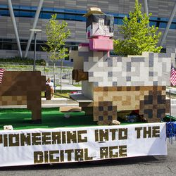 """The """"Pioneering into the Digital Age"""" float is pictured during the Days of '47 Union Pacific Railroad Youth Parade held Saturday, July 18, 2015, in Salt Lake City."""