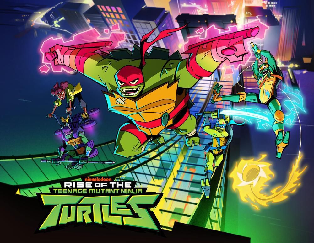 The newly revised Ninja Turtles leap into action in Nickelodeon's key art for Rise of the Teenage Mutant Ninja Turtles.