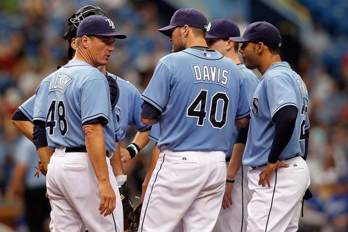 Jim Hickey and Wade Davis can't figure out why the Rays' rookie has been so bad at home, but above-average on the road.  (Photo by J. Meric/Getty Images)