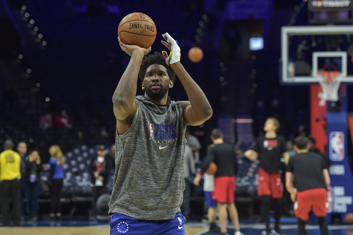 Philadelphia 76ers center Joel Embiid warms up before the game against the Chicago Bulls at the Wells Fargo Center.