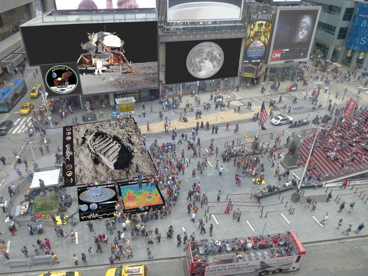 A mock-up of The People's Moon exhibit in Times Square. The People's Moon