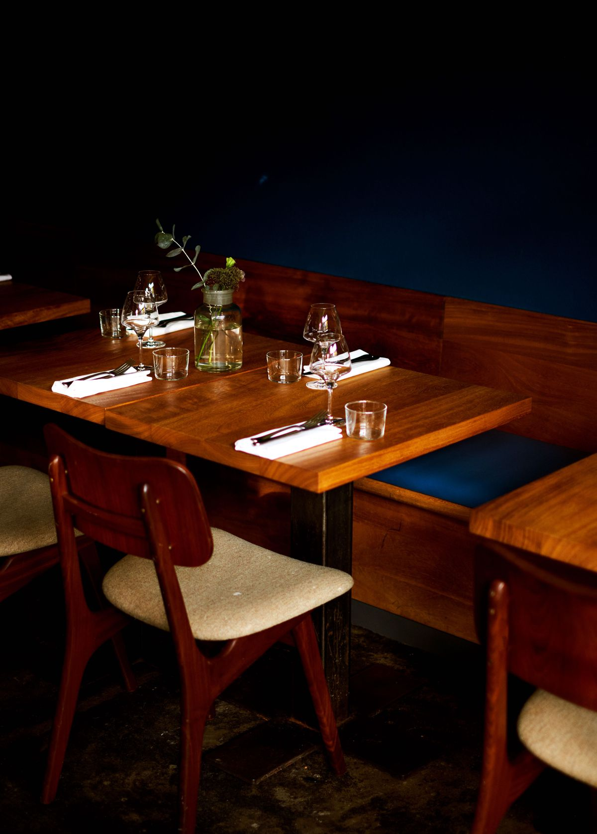 Table details at Levan, Peckham's newest, coolest restaurant from the team behind Salon in Brixton