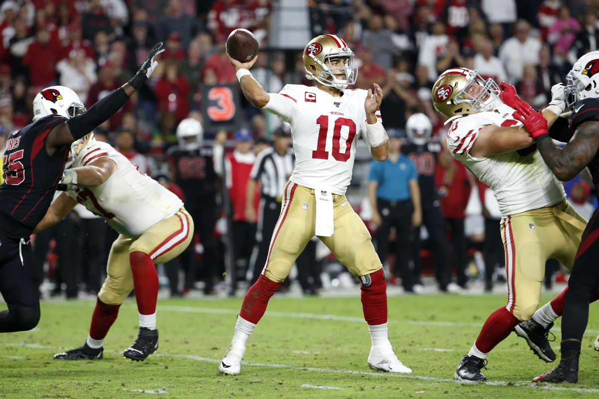 Quarterback Jimmy Garoppolo of the San Francisco 49ers throws a pass against the Arizona Cardinals during the second half of the NFL football game at State Farm Stadium on October 31, 2019 in Glendale, Arizona.