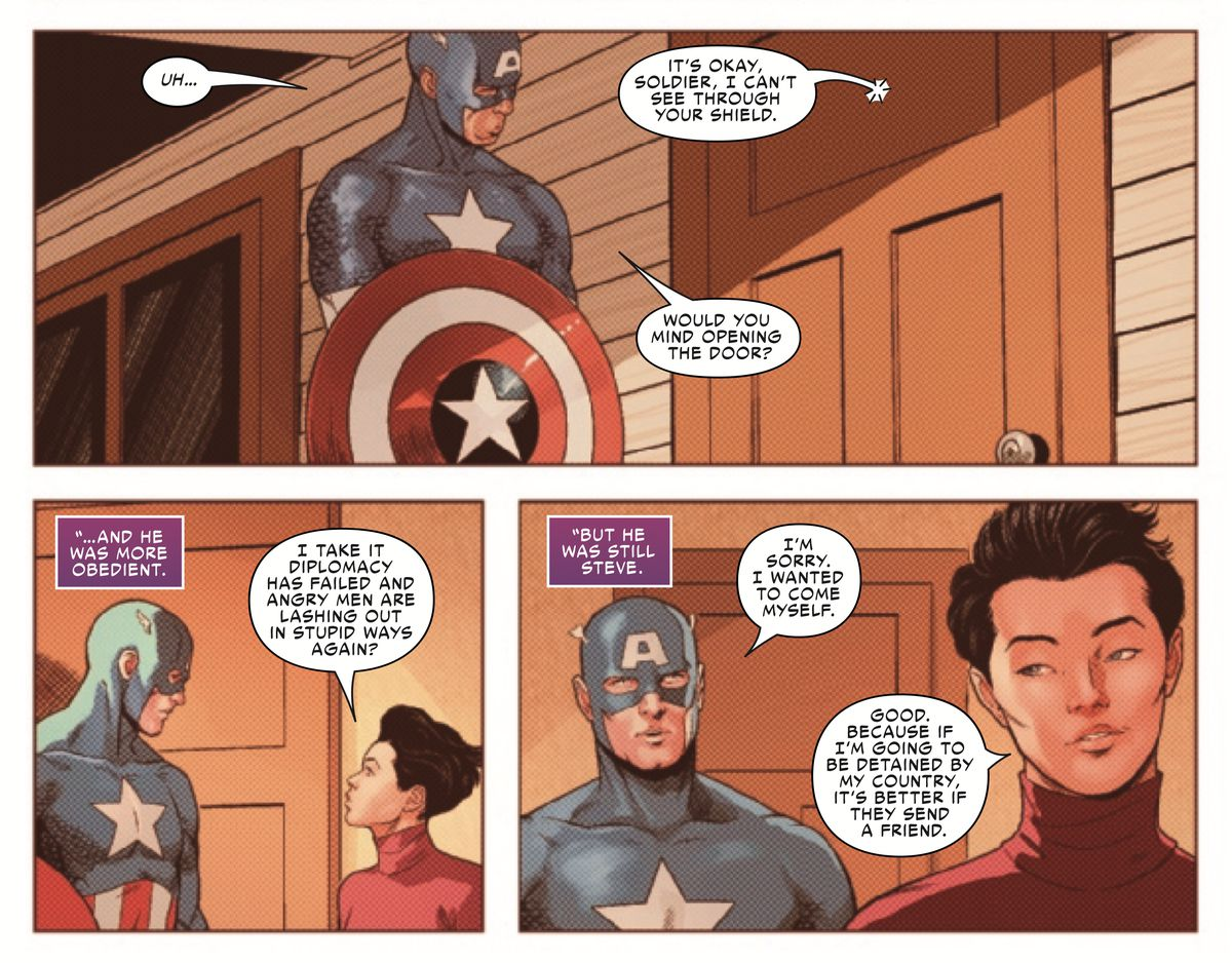 In the 1940s, Captain America visits Japanese-expat superhero the Rumor, to break the news of America's Japanese internment camps to her, in Friendly Neighborhood Spider-Man #9, Marvel Comics (2019).