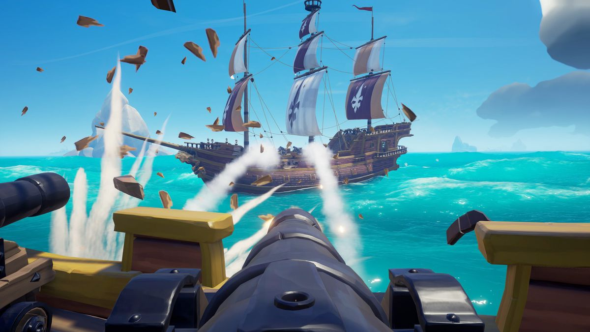 A ship fires on an opponent in Sea of Thieves
