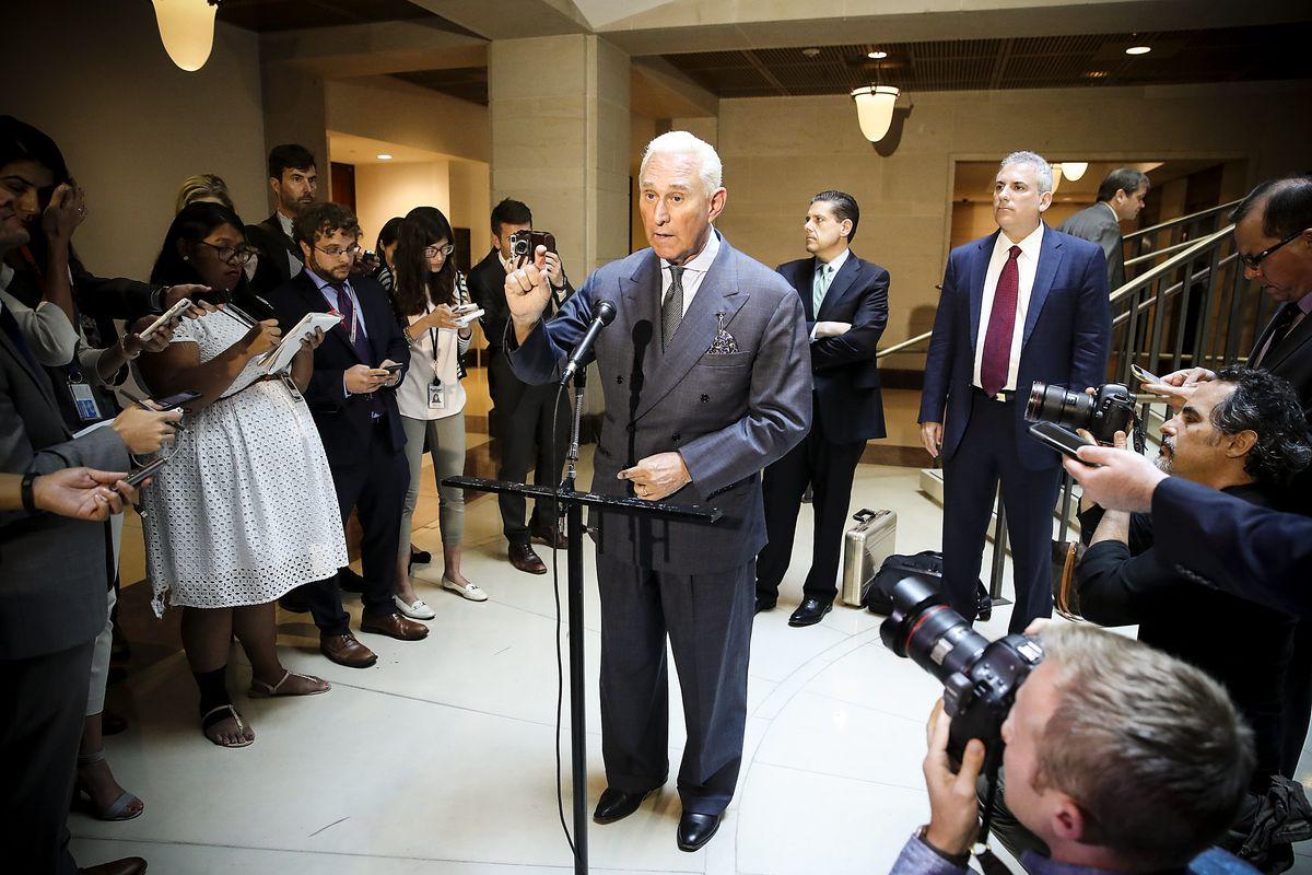 efafca61a4c44 Roger Stone speaks to the media after appearing before the House  Intelligence Committee during a closed door hearing on September 26