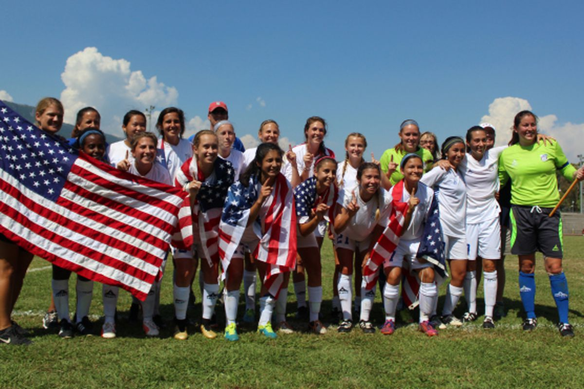 The USDWNT celebrate their second Deaf World Cup title