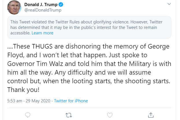 Twitter restricts new Trump tweet for 'glorifying violence' 1