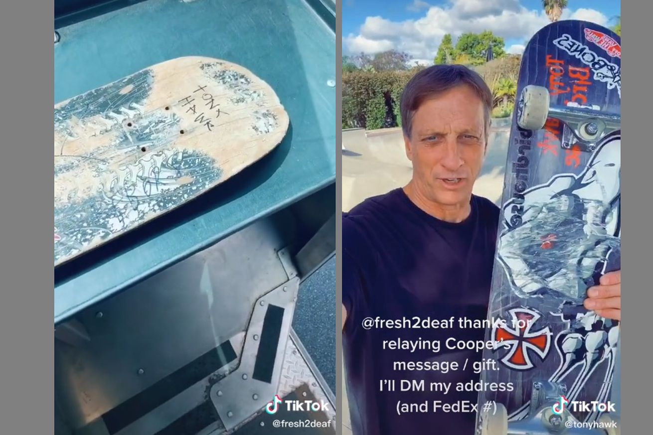 hawk board.0 - This skateboard exchange between Tony Hawk and a young fan is guaranteed to make you smile