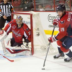 Peters Protects Net as Backstrom Plays Puck