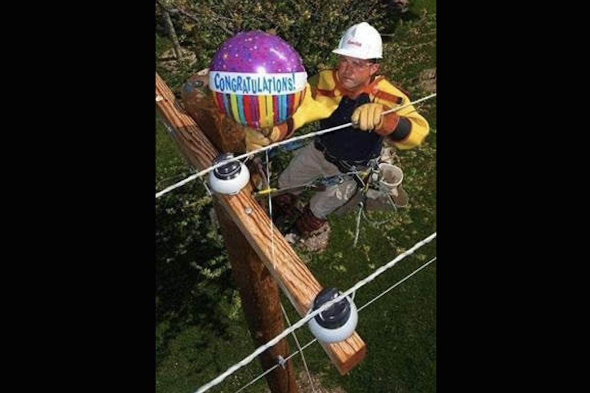 An electrician works to remove a foil balloon from a power line.