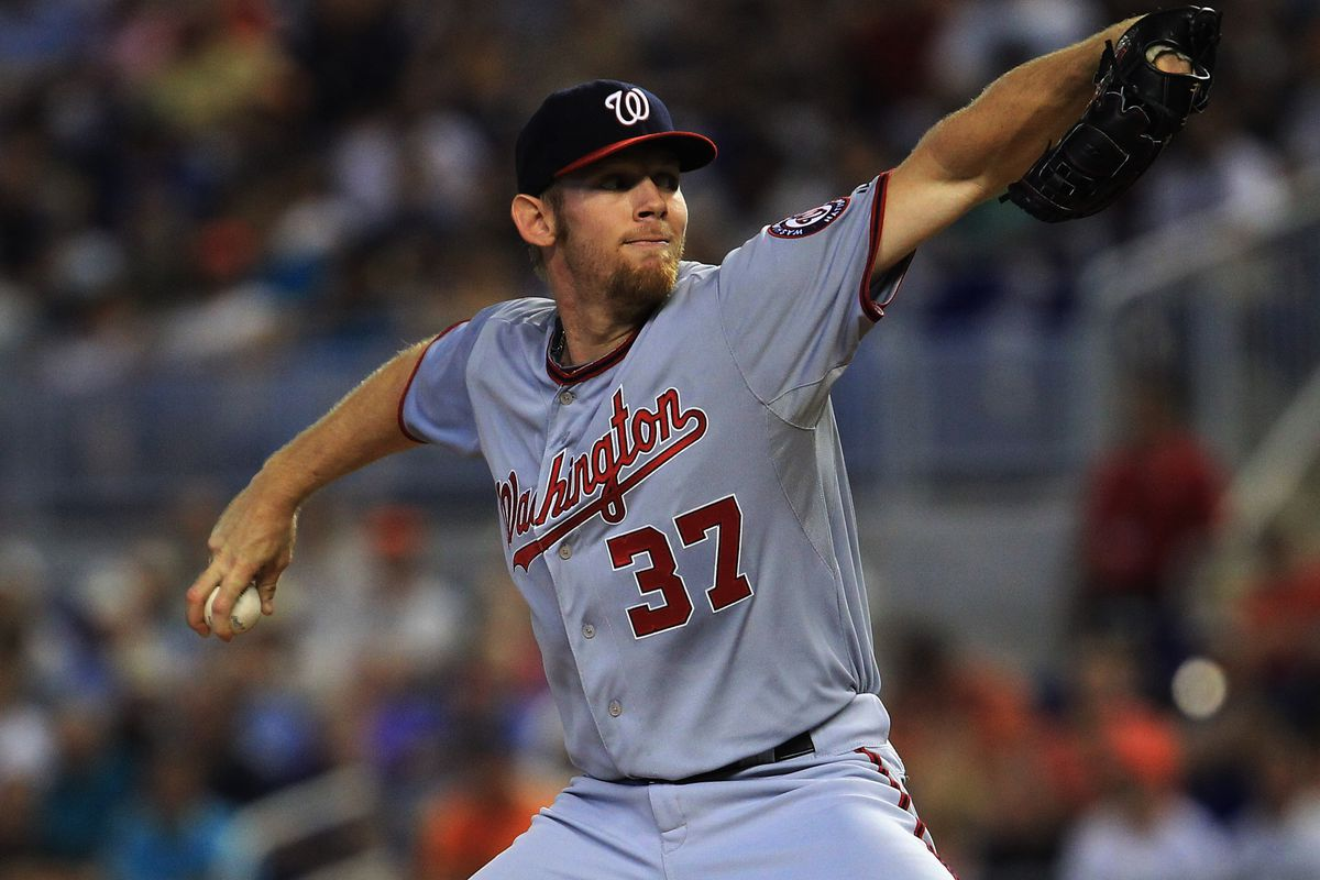 MIAMI, FL - JULY 15: Stephen Strasburg #37 of the Washington Nationals delivers a pitch against the Miami Marlins at Marlins Park on July 15, 2012 in Miami, Florida. (Photo by Chris Trotman/Getty Images)