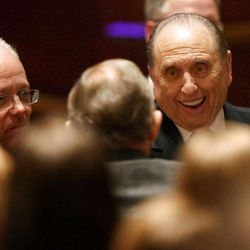 President Thomas S. Monson leaves Golden Days, A Celebration of Life, in honor of his 85th birthday at the LDS Conference Center in Salt Lake City on Friday, Aug. 17, 2012.