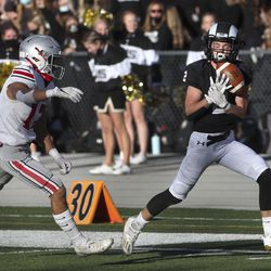 Action in the 5A first round football playoffs between Spanish Fork at Highland at Highland High School in Salt Lake City on Friday, Oct. 23, 2020.