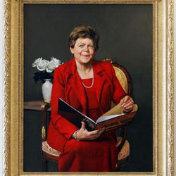 FILE - A portrait of former Gov. Olene Walker, the state's first female governor, hangs in the East Building of the Capitol.