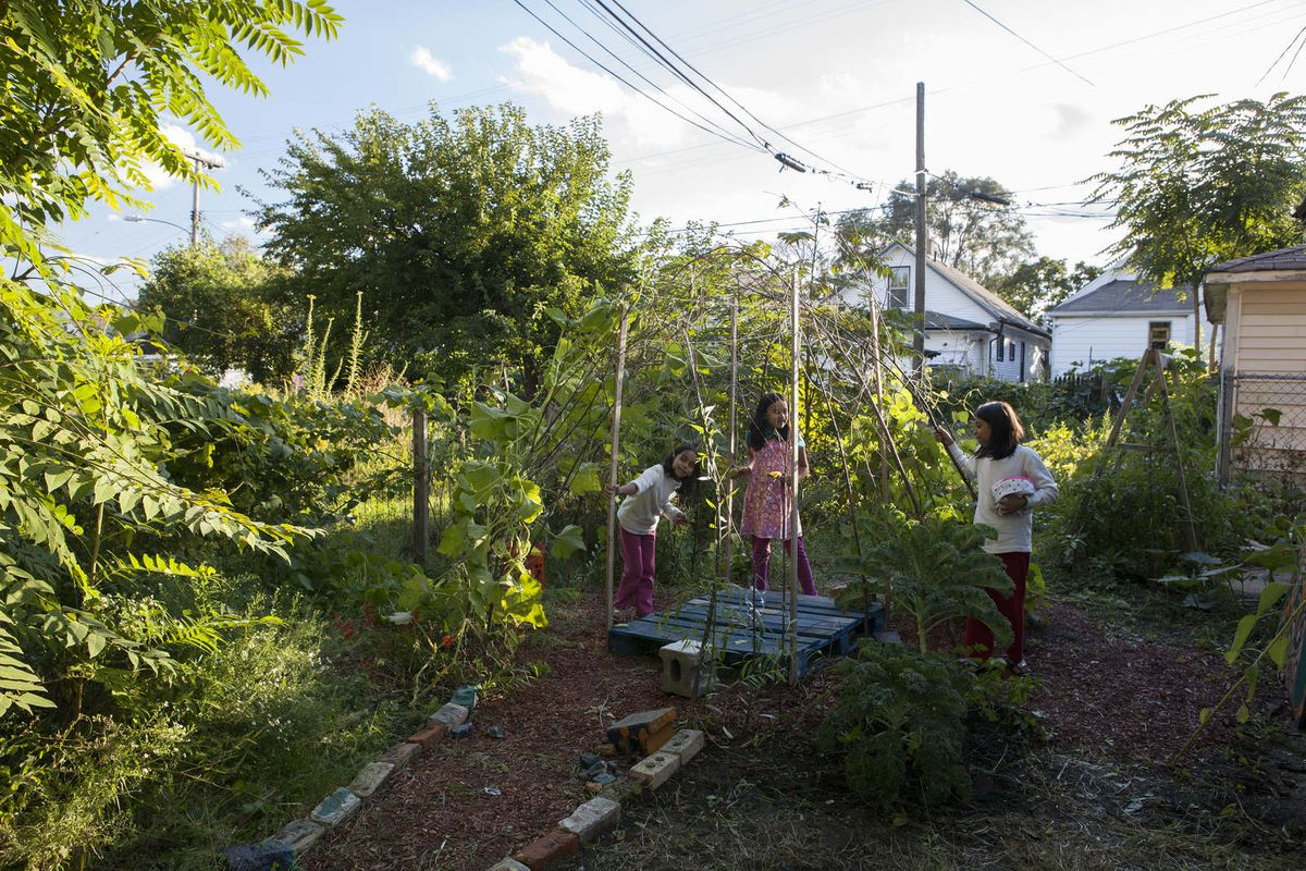 "Girls practice gardening skills at Knight award-winner Burnside Farm as part of the Women of Banglatown project. Photos via <a href=""http://www.burnsidefarmdetroit.com""> Burnside Farm</a>"