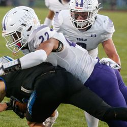 Tooele and Stansbury compete in a high school football game at Stansbury High School in Stansbury Park on Friday, Sept. 17, 2021.