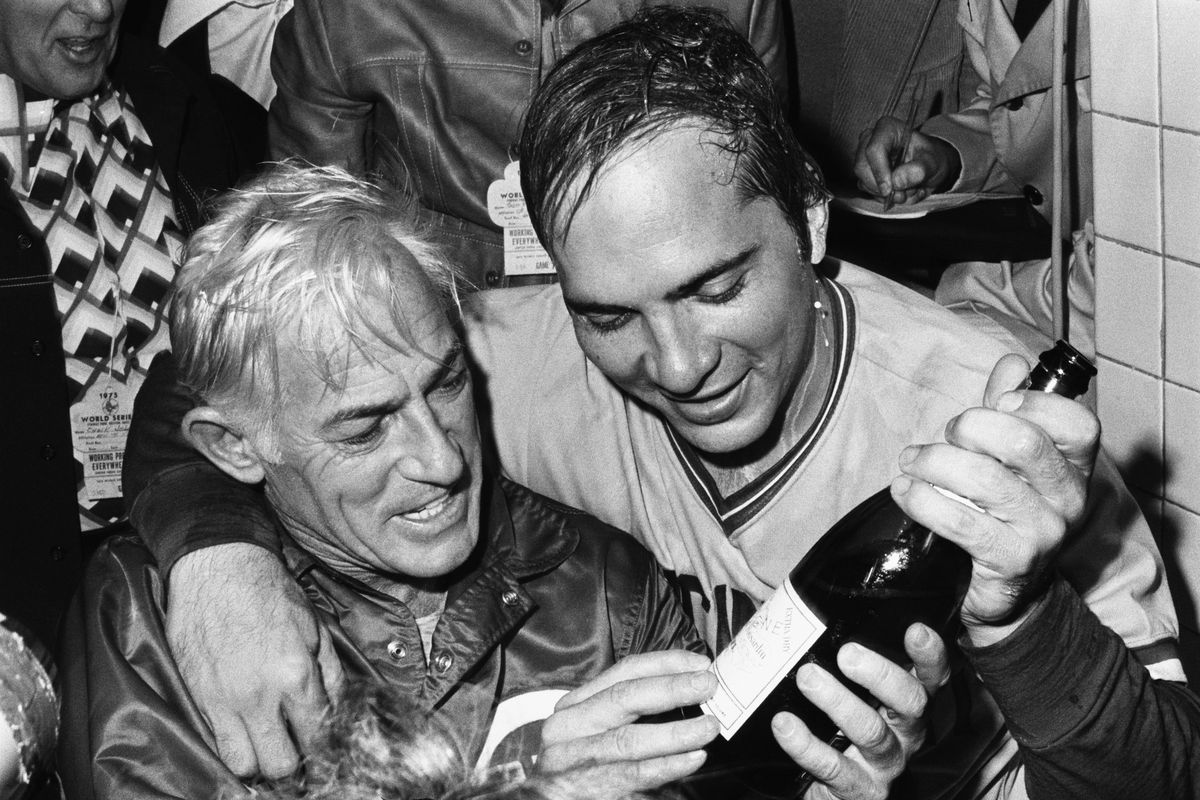 Johnny Bench and Sparky Anderson with Champagne