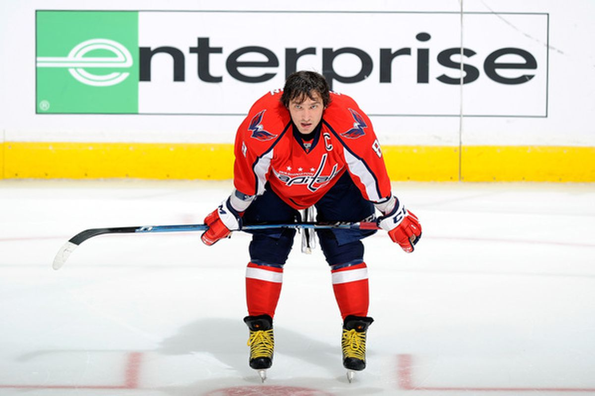 WASHINGTON - OCTOBER 19:  Alex Ovechkin #8 of the Washington Capitals warms up before the game against the Boston Bruins at the Verizon Center on October 19 2010 in Washington DC.  (Photo by Greg Fiume/Getty Images)