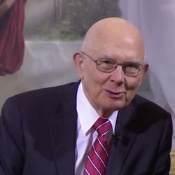 President Dallin H. Oaks, first counselor in the LDS Church's First Presidency, speaks at Tuesday's announcement from the Salt Lake Temple.