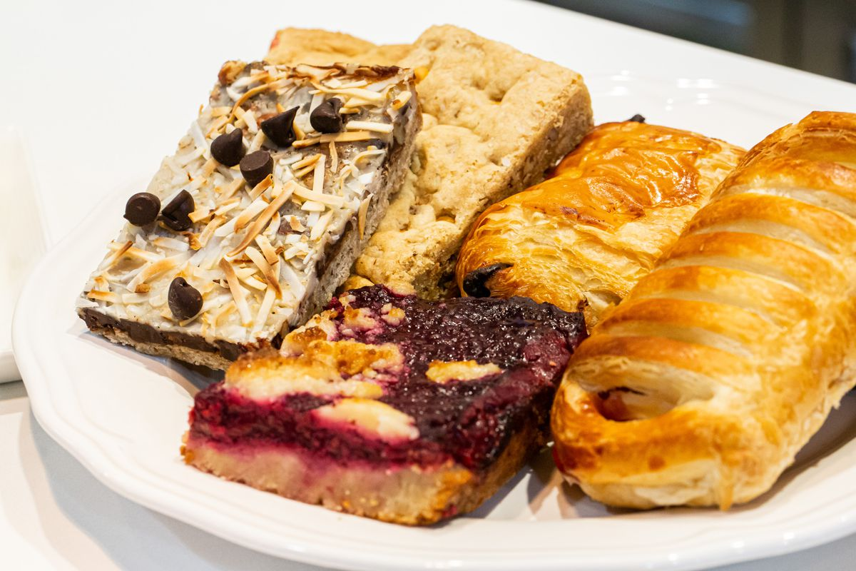 Assorted pastries on a white plate from Baker Dude