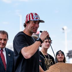Travis Pastrana speaks at a press conference for Nitro World Games in Salt Lake City on June 21, 2017.