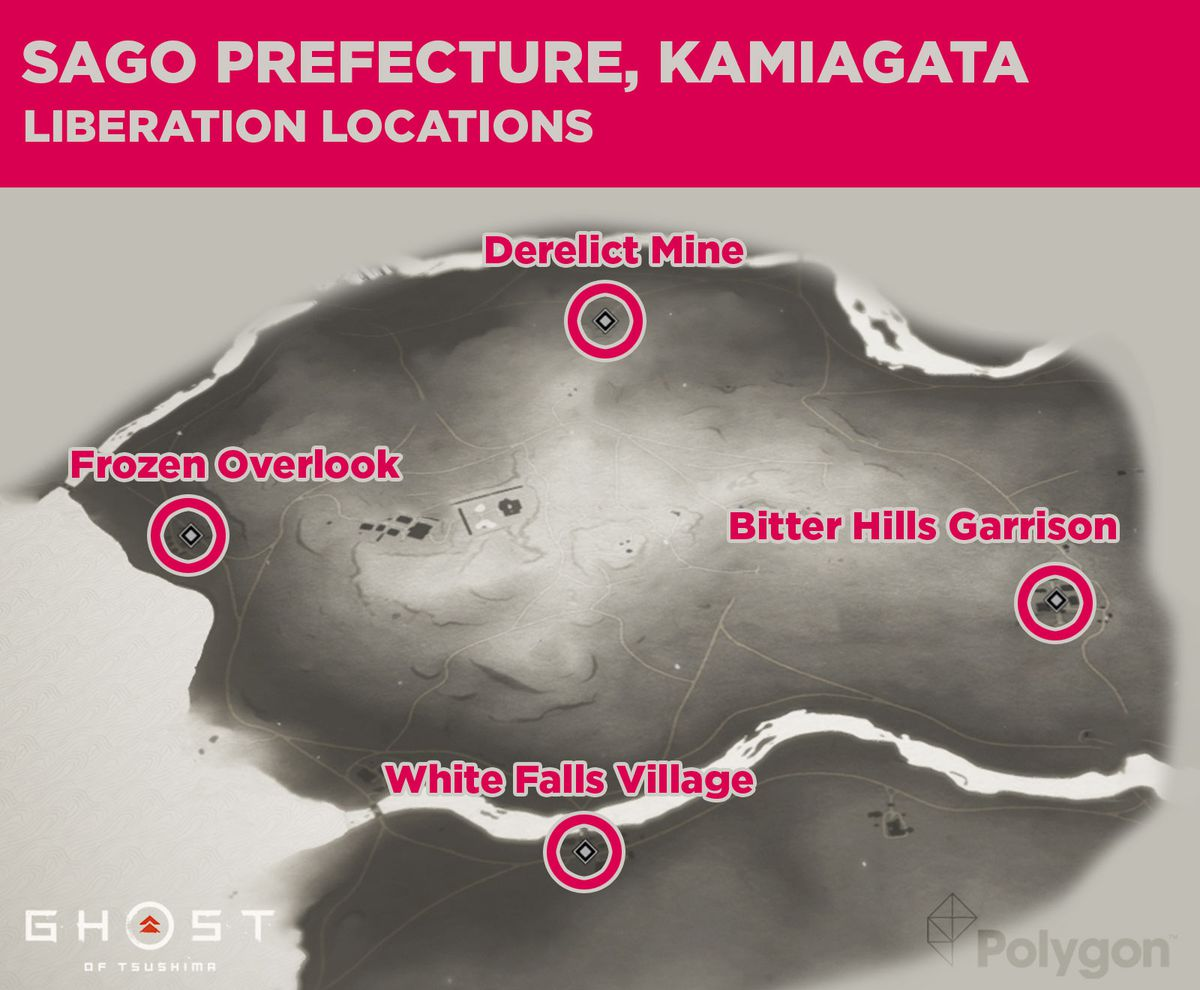 Kin prefecture from Ghost of Tsushima and its liberation locations including: White Falls Village, Bitter Hills Garrison, Frozen Overlook, and Derelict Mine.