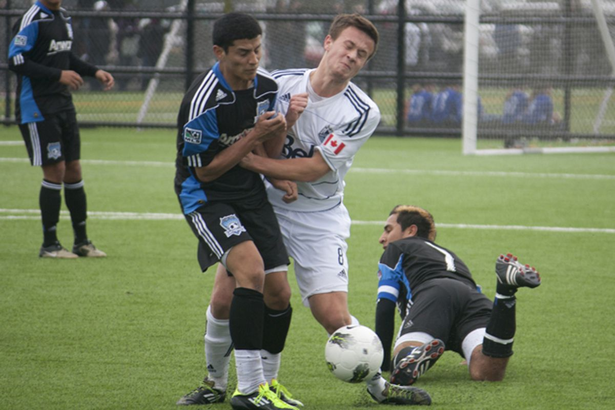 Ben McKendry hasn't just had his usual ball-winning presence for the Whitecaps U-18s: he's also found his offensive form. (Benjamin Massey/Eighty Six Forever)